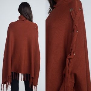 Fashionomics Sweaters - Turtleneck Fringe Poncho with tied sleeves